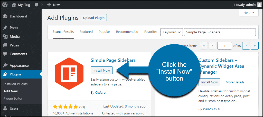 click to install the WordPress Simple Page Sidebars plugin
