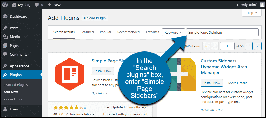 search for the WordPress Simple Page Sidebars plugin
