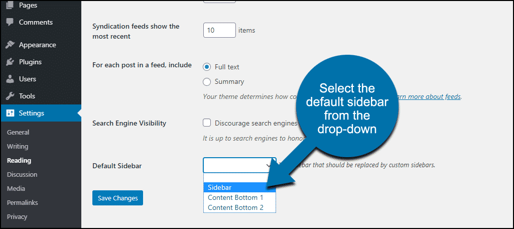 select default sidebar from the drop-down