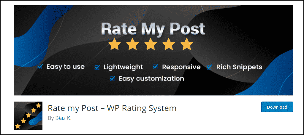 Rate my Post WordPress plugin