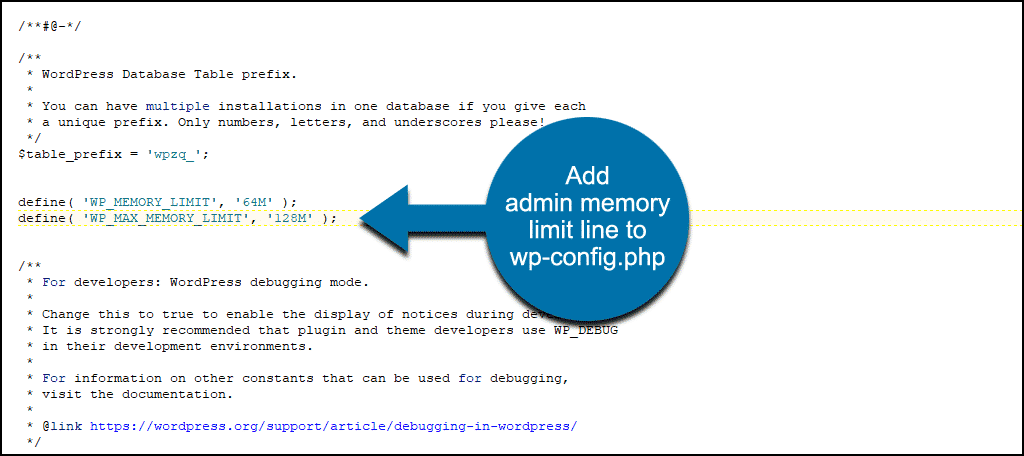 updated admin memory limit in wp-config