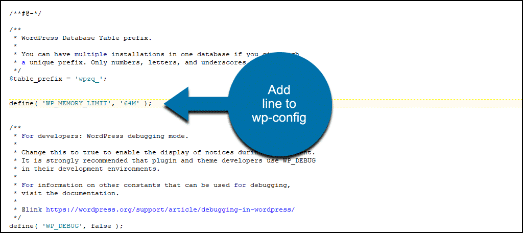 adding WP_MEMORY_LIMIT line to wp-config