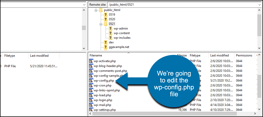 find the wp-config.php file