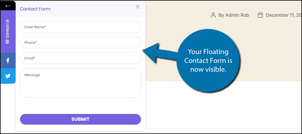 Floating Contact Form