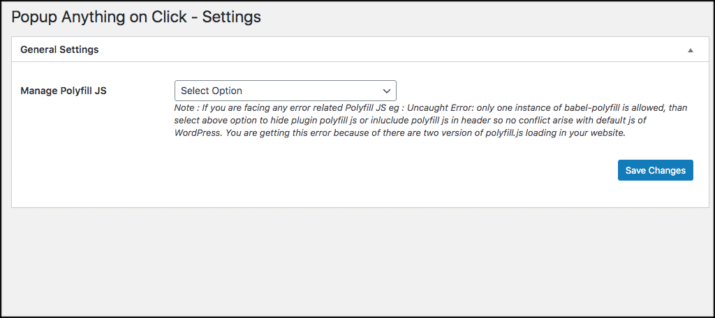 Geberal settings for popup on click box plugin