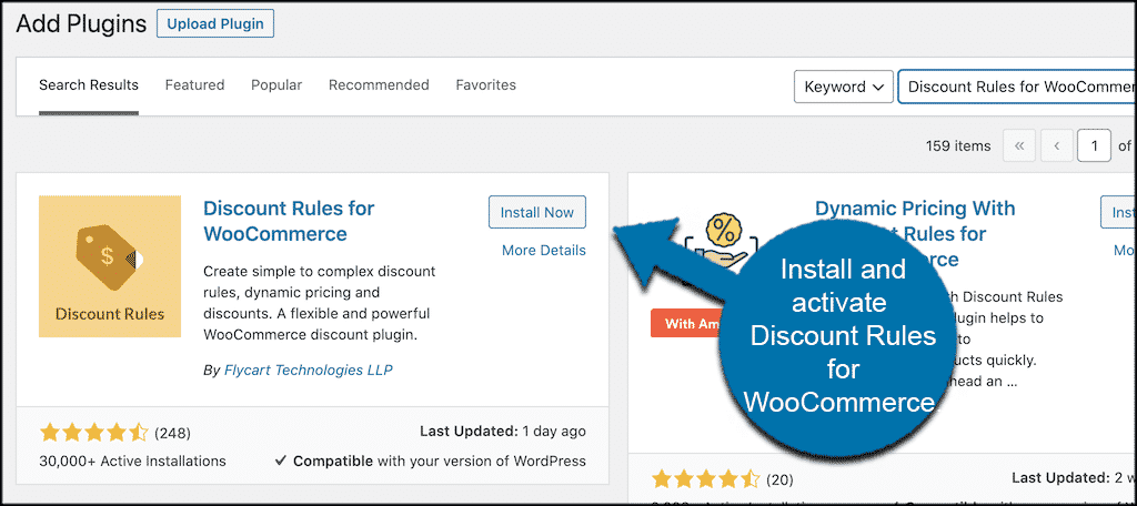 Install and activate discount rules in woocommerce plugin