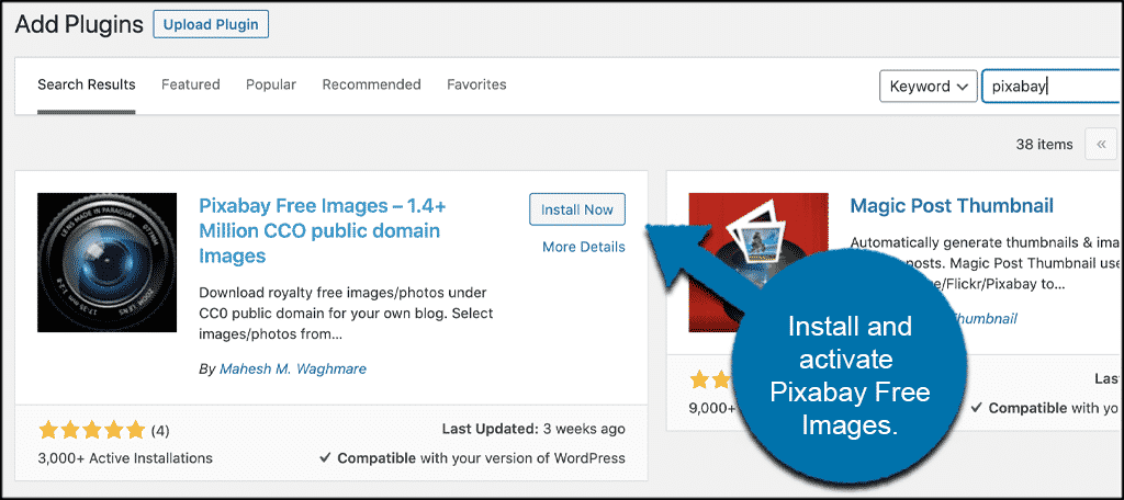Install and activate plugin to add pixabay in wordpress
