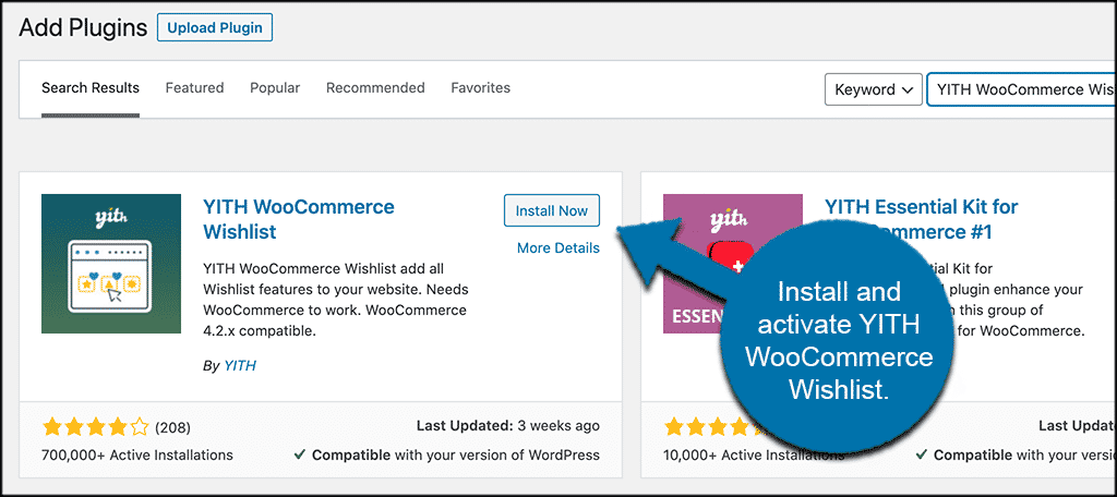 INstall and activate woocommerce wishlist plugin