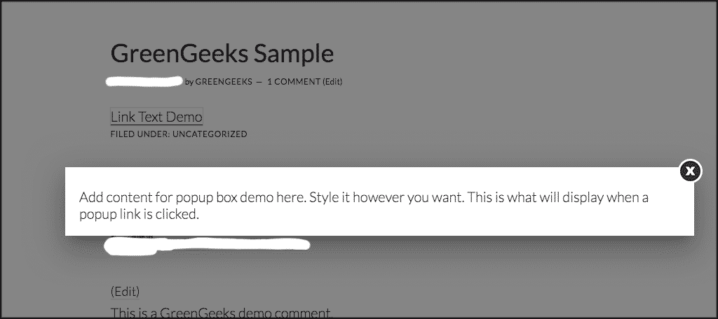 Link text popup box demo