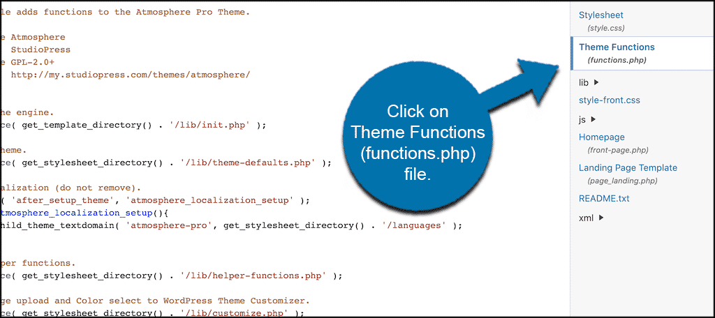 Click on the theme functions functions.php file