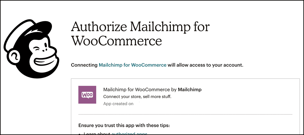 Authorize mailchimp for woocommerce