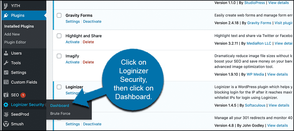 Click loginizer security then click dashboard