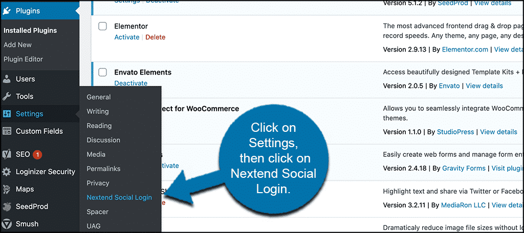 Click settings then nextend social login