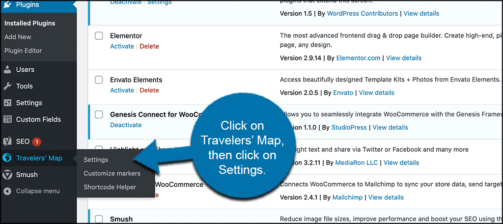 Click travelers map then settings