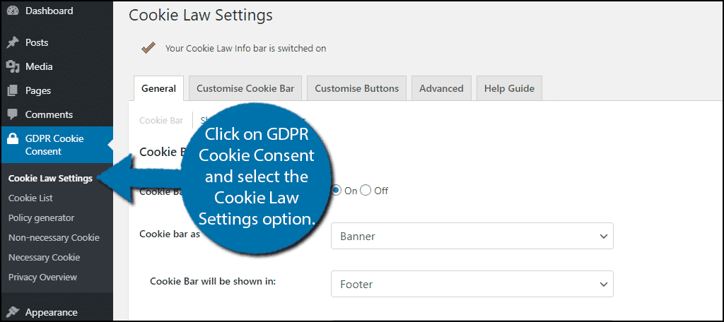 Cookie Law Settings