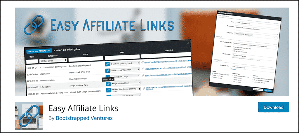 Easy affiliate links plugin for skin care blog