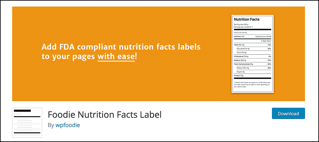 Foodie Nutrition Facts Label plugin