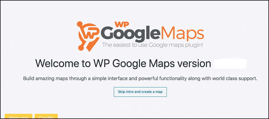Welcome page for wordpress maps plugin