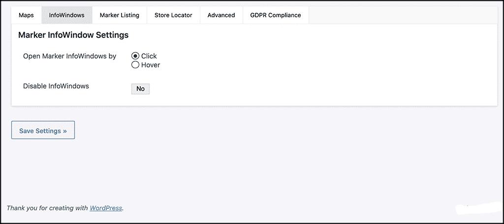 InfoWindows tab