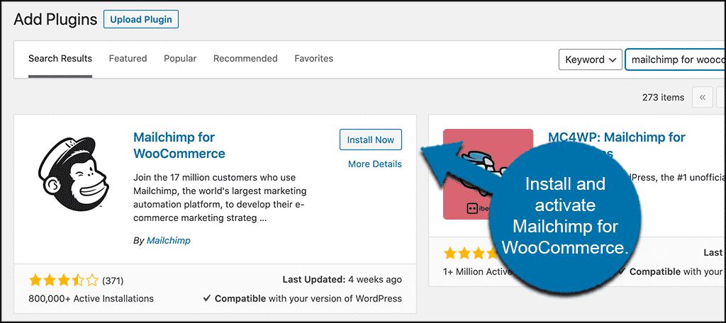 Install and activate mailchimp for woocommerce