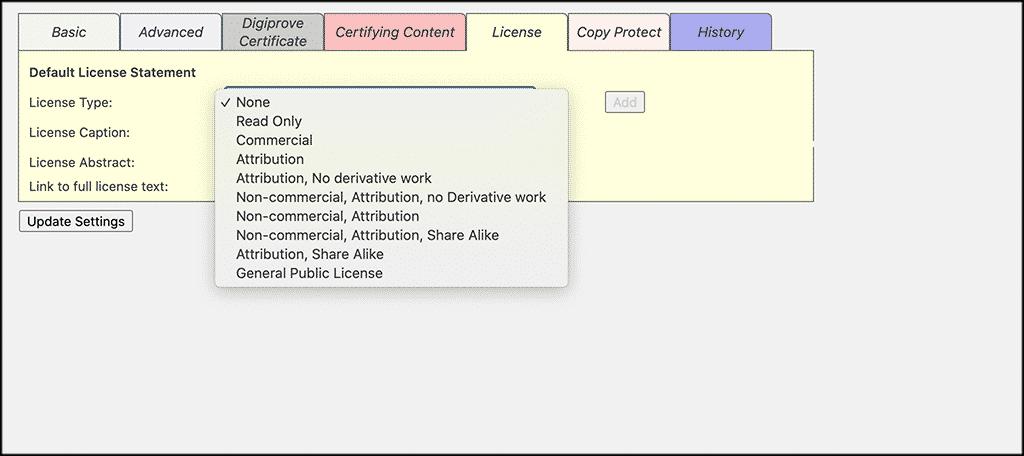 Choose license for copyright blog plugin