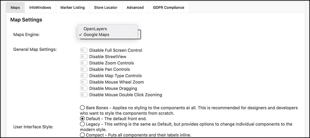 Map settings tab