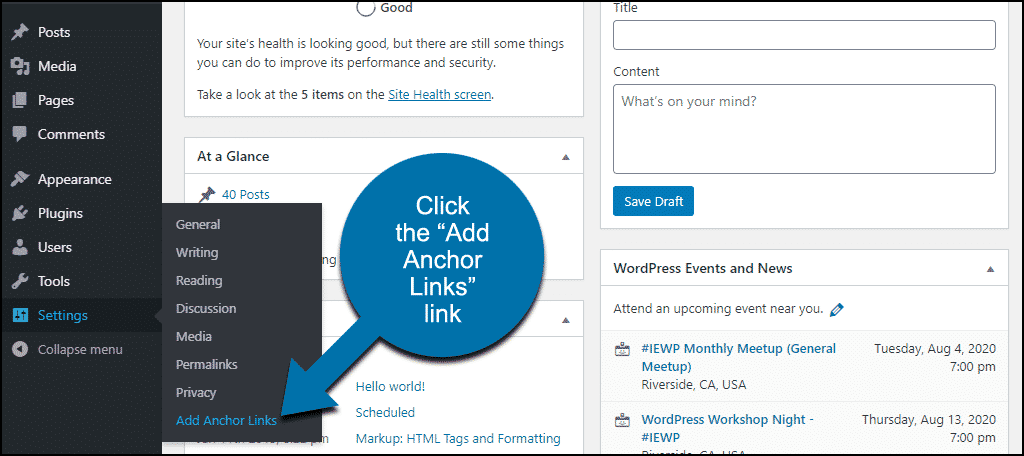 """click the """"Add Anchor Links"""" link"""