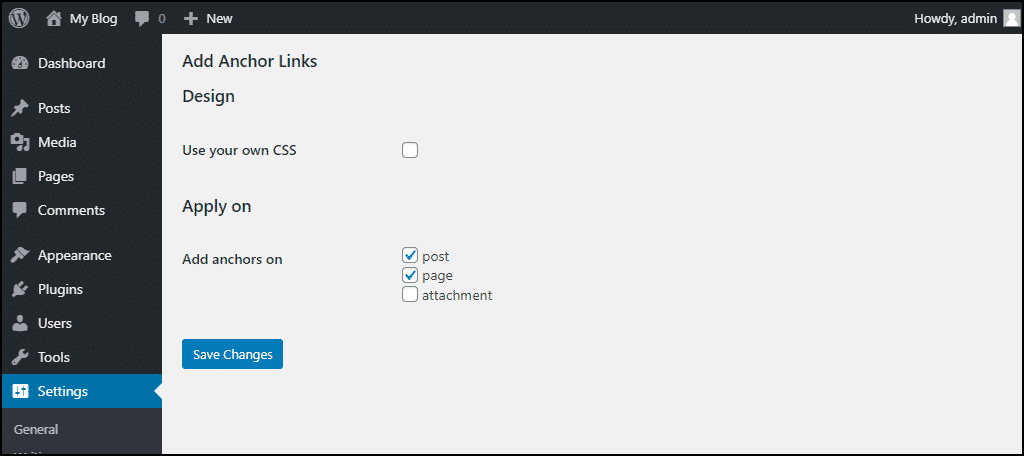 add anchor links configuration