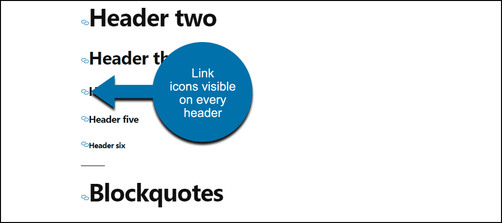 link icon visible on all headers