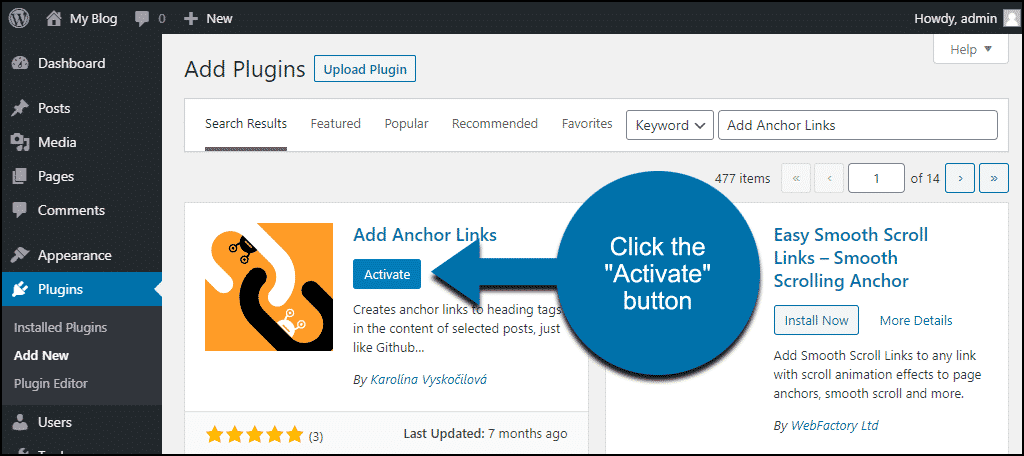 click to activate the WordPress Add Anchor Links plugin