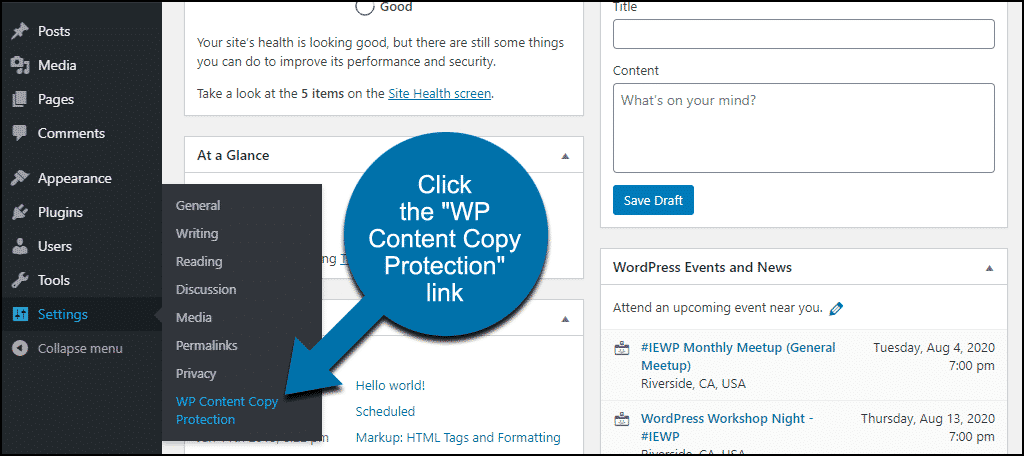 """click the """"WP Content Copy Protection"""" link"""