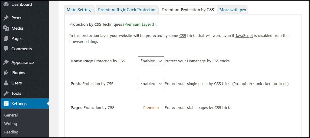 premium protection by css tab