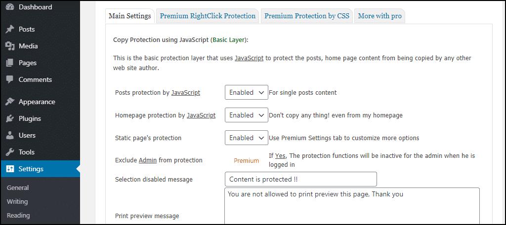 main settings tab