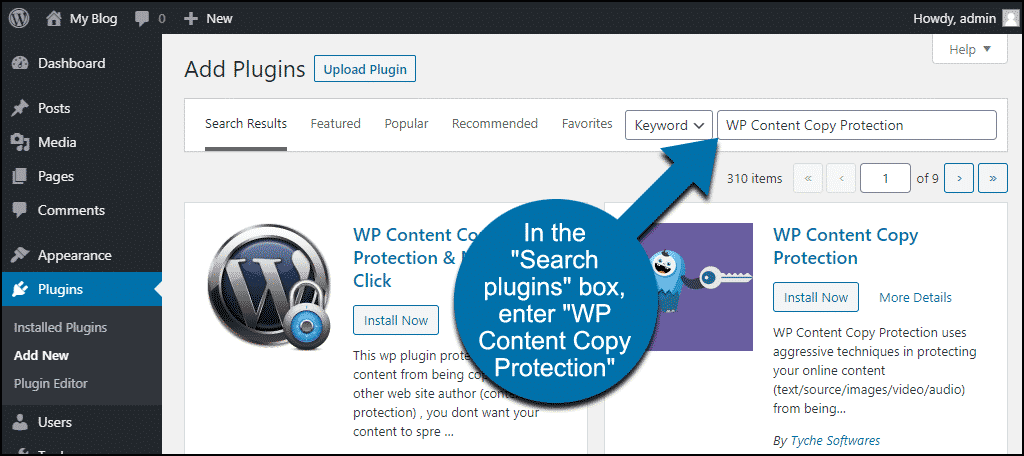 search for the WordPress WP Content Copy Protection plugin
