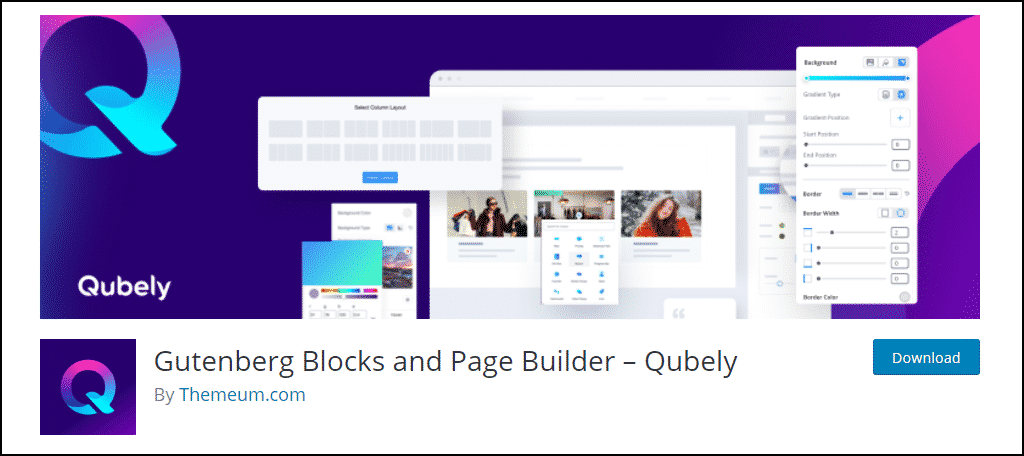 Qubely WordPress plugin