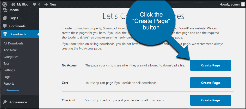 "click the ""Create Page"" button"