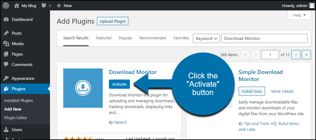 click to activate the WordPress Download Monitor plugin