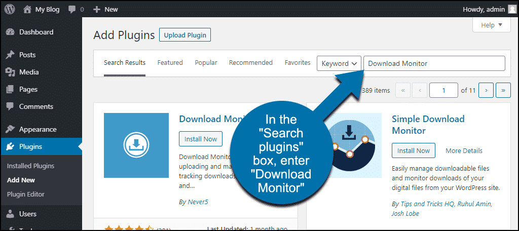 search for the WordPress Download Monitor plugin