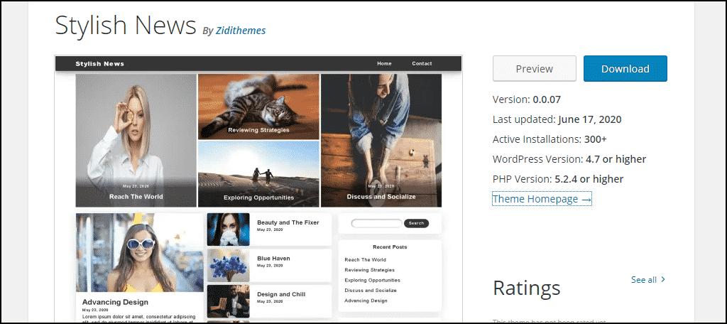 Stylish News WordPress theme