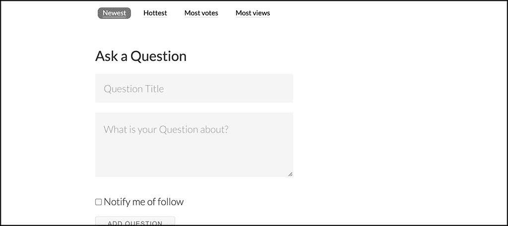 Question and answer page on front end