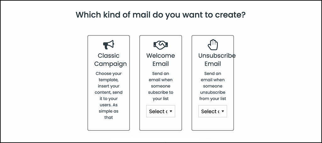 Choose AcyMailing email type