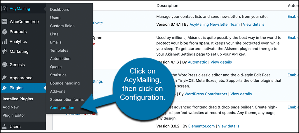 Click AcyMailing then configuration