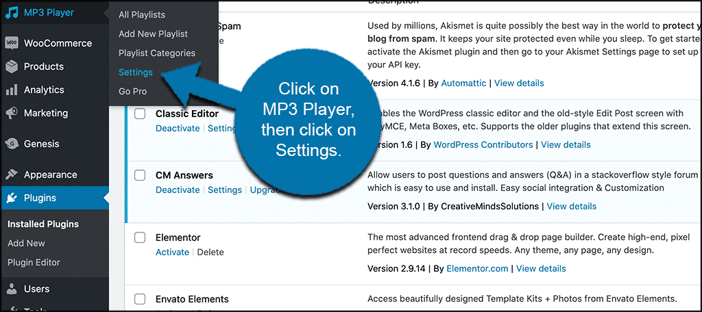 Click MP3 player then settings