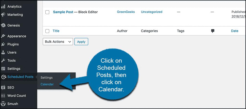 Click scheduled posts then calendar
