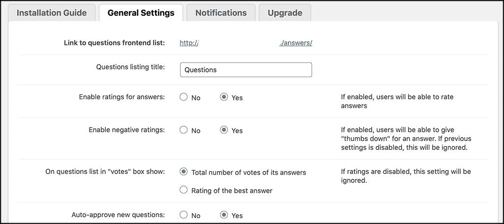 General Settings tab