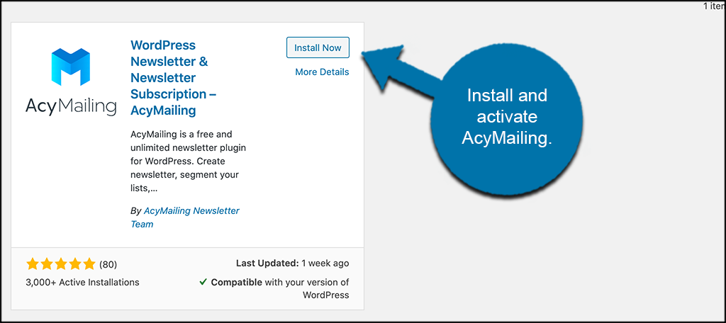 Install and activate AcyMailing