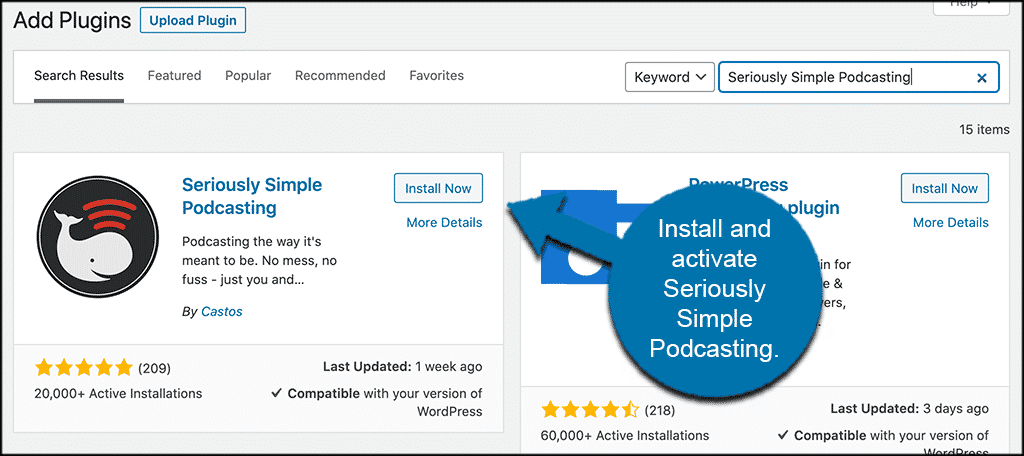 INstall and activate seriously simple podcasting