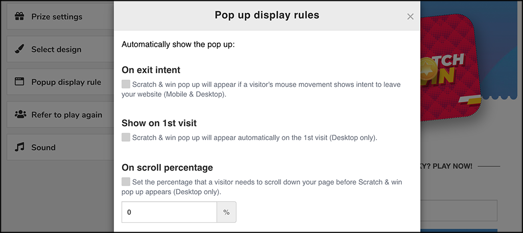 Pop Up display rules for Scratch and Win Giveaways