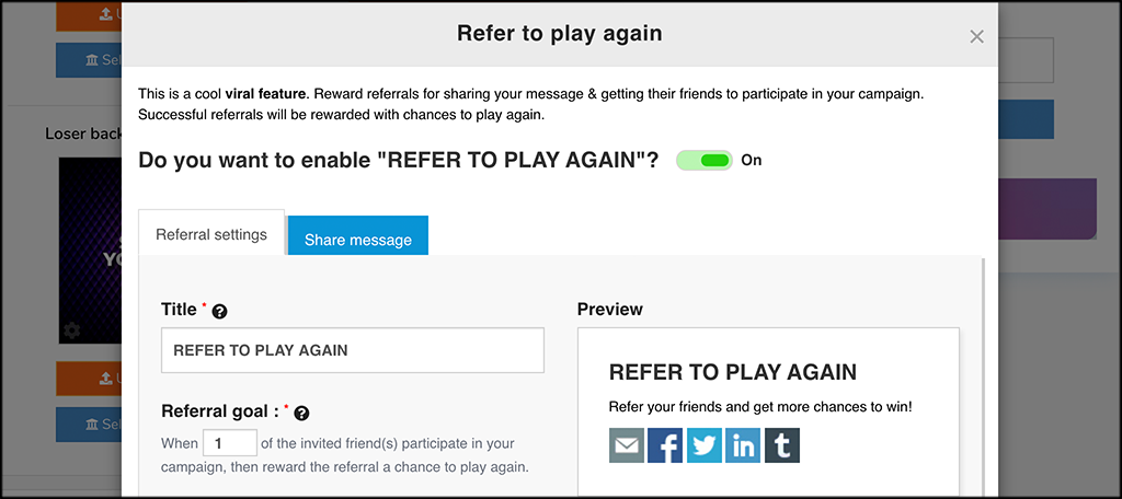 Refer to play again box