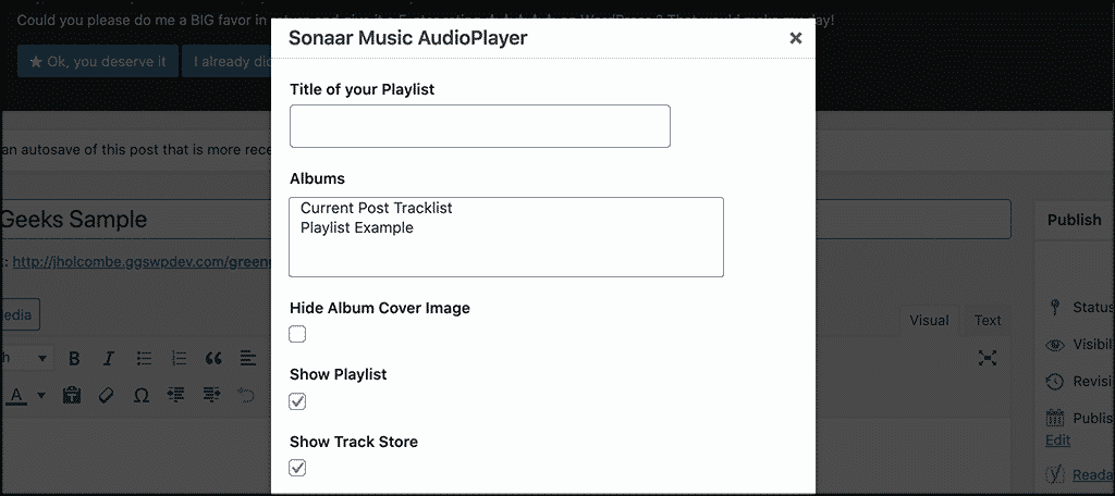 Popup box info for MP3 music player